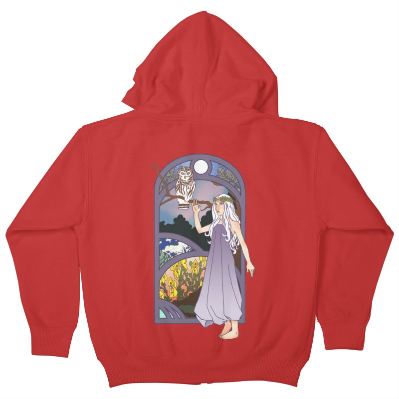 The Flower Maiden Kids Zip-Up Hoody by ariesnamarie's Artist Shop