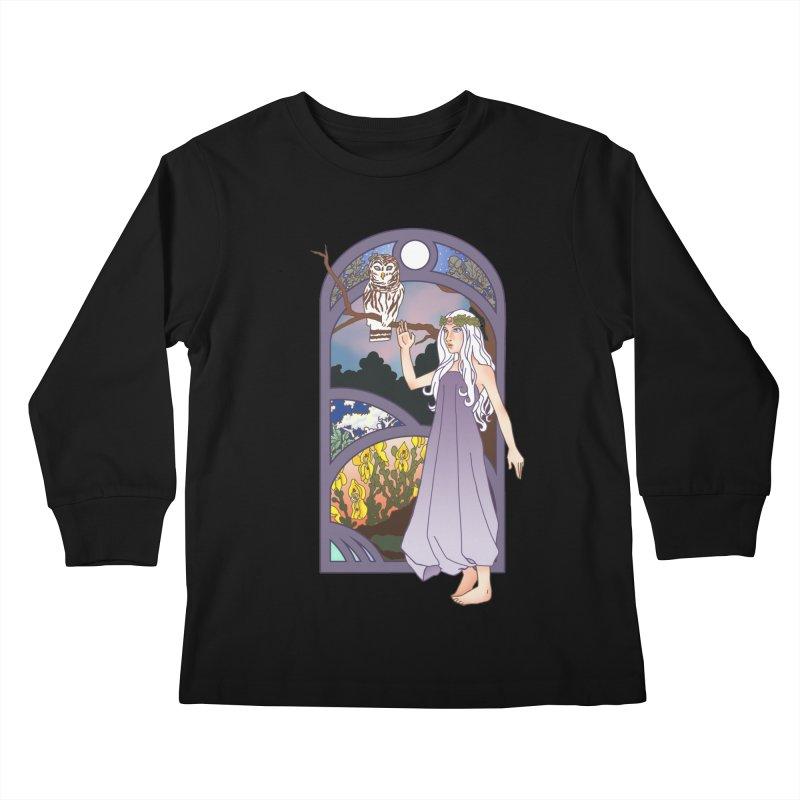 The Flower Maiden Kids Longsleeve T-Shirt by ariesnamarie's Artist Shop