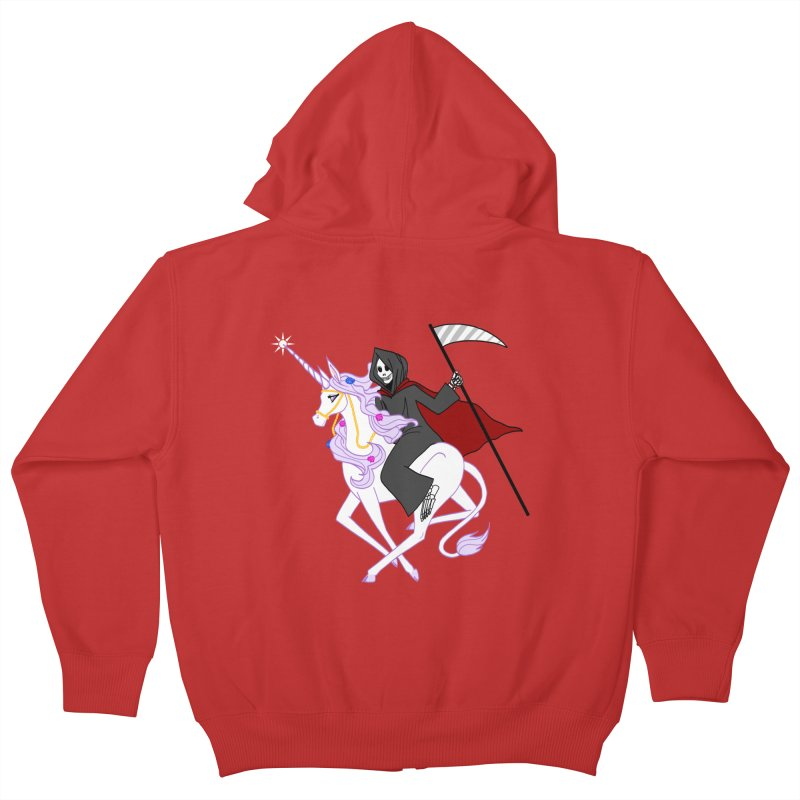 Riding Buddies Kids Zip-Up Hoody by ariesnamarie's Artist Shop