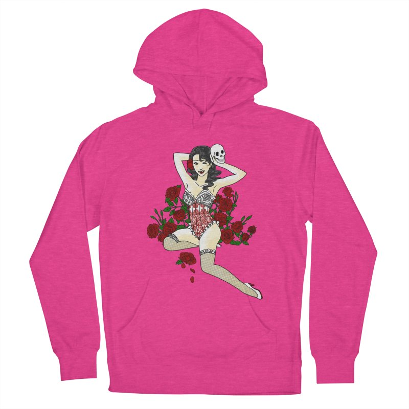 Wild Rose Pin Up Women's Pullover Hoody by ariesnamarie's Artist Shop