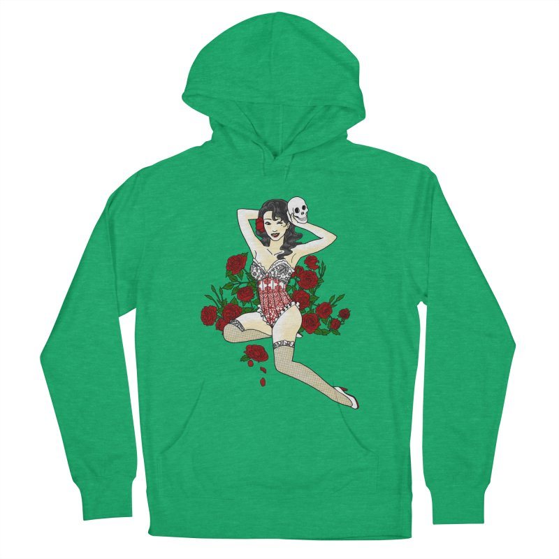 Wild Rose Pin Up Men's Pullover Hoody by ariesnamarie's Artist Shop