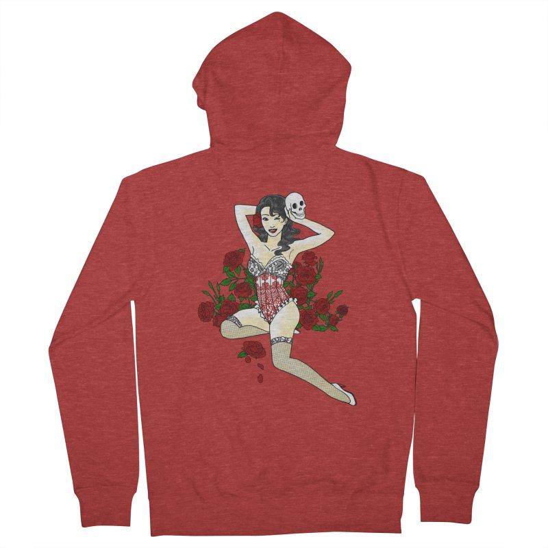 Wild Rose Pin Up Men's Zip-Up Hoody by ariesnamarie's Artist Shop