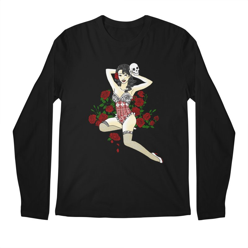 Wild Rose Pin Up Men's Longsleeve T-Shirt by ariesnamarie's Artist Shop