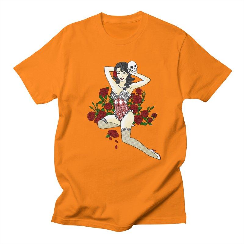 Wild Rose Pin Up Men's T-shirt by ariesnamarie's Artist Shop