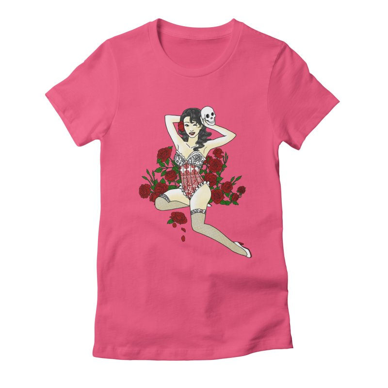 Wild Rose Pin Up Women's Fitted T-Shirt by ariesnamarie's Artist Shop