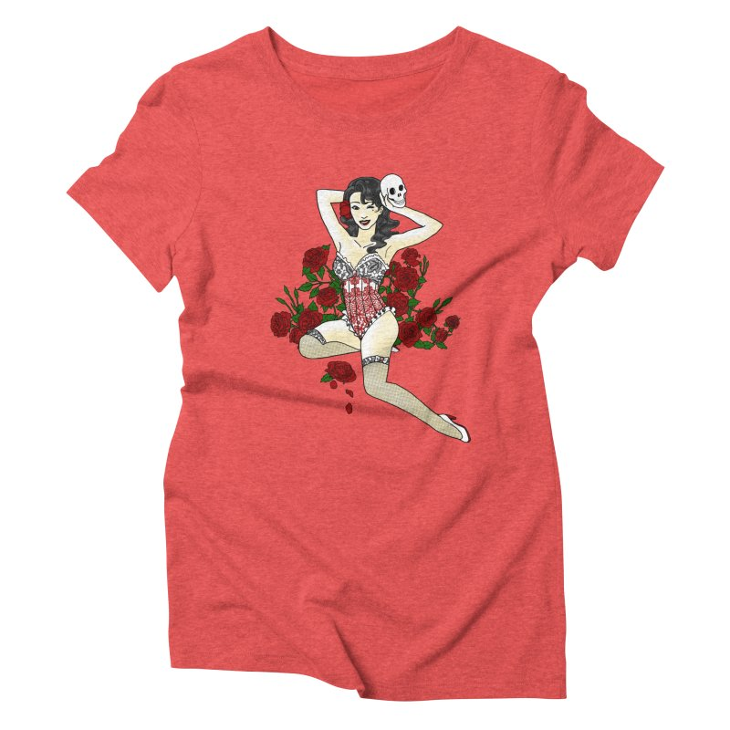 Wild Rose Pin Up Women's Triblend T-Shirt by ariesnamarie's Artist Shop