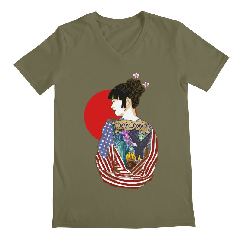 The Illustrated Woman Men's V-Neck by ariesnamarie's Artist Shop