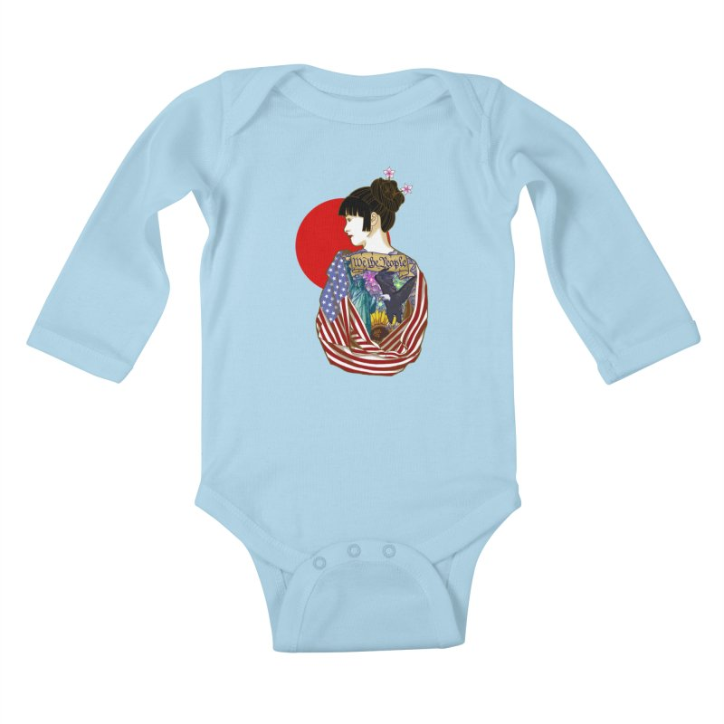 The Illustrated Woman Kids Baby Longsleeve Bodysuit by ariesnamarie's Artist Shop