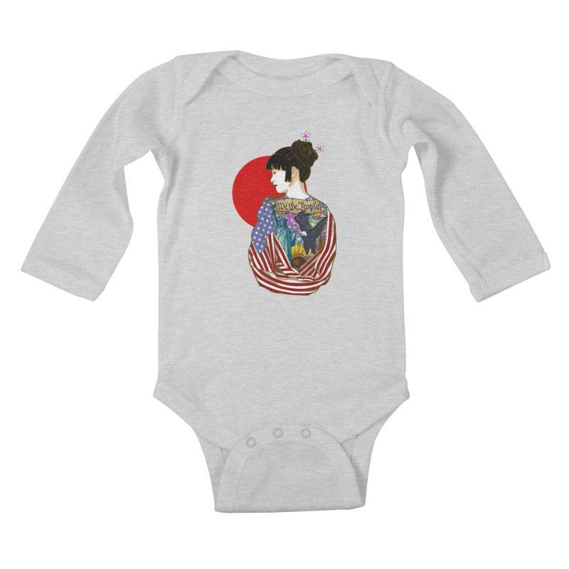 The Illustrated Woman Kids Baby Longsleeve Bodysuit by ariesnamarie's Artist Shop