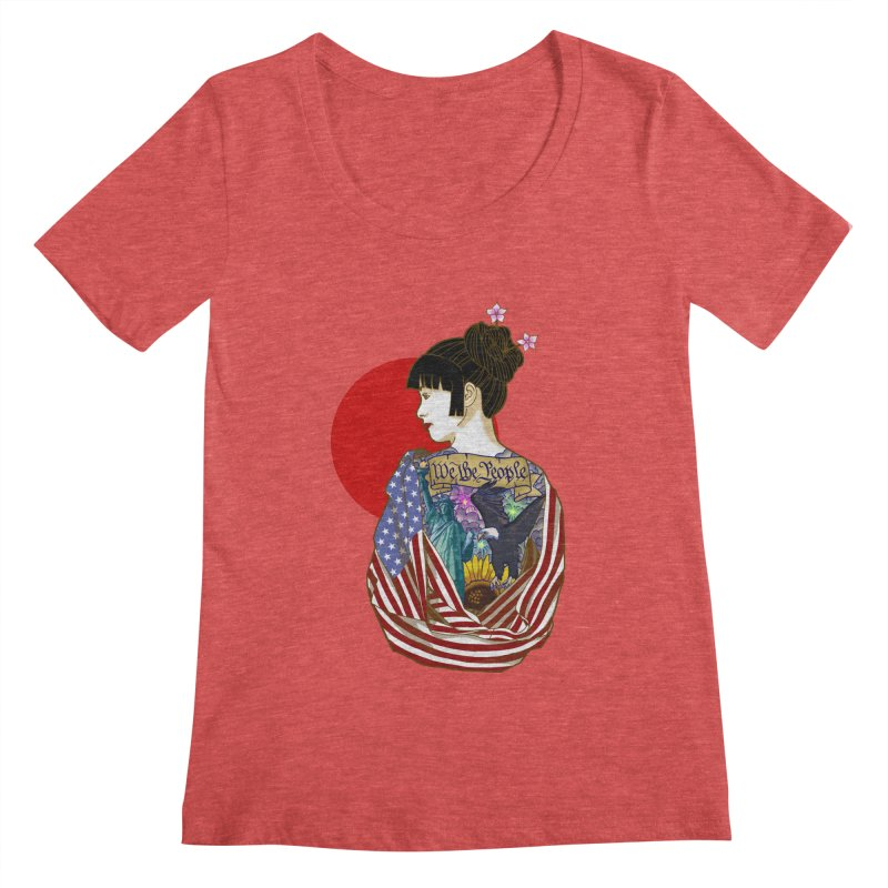 The Illustrated Woman Women's Scoopneck by ariesnamarie's Artist Shop