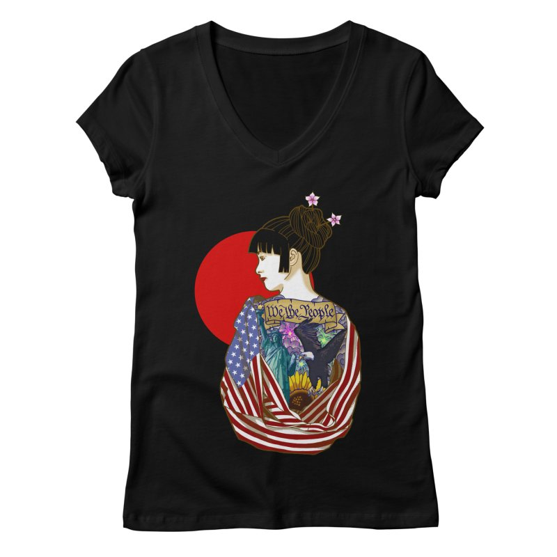 The Illustrated Woman Women's V-Neck by ariesnamarie's Artist Shop