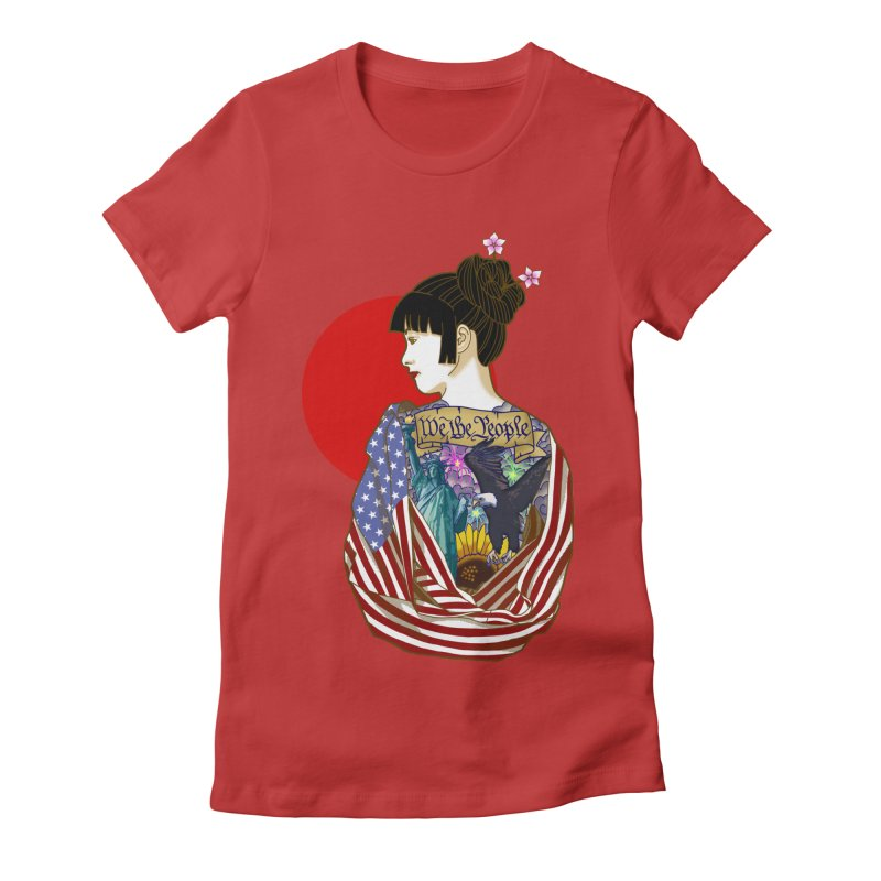 The Illustrated Woman Women's Fitted T-Shirt by ariesnamarie's Artist Shop