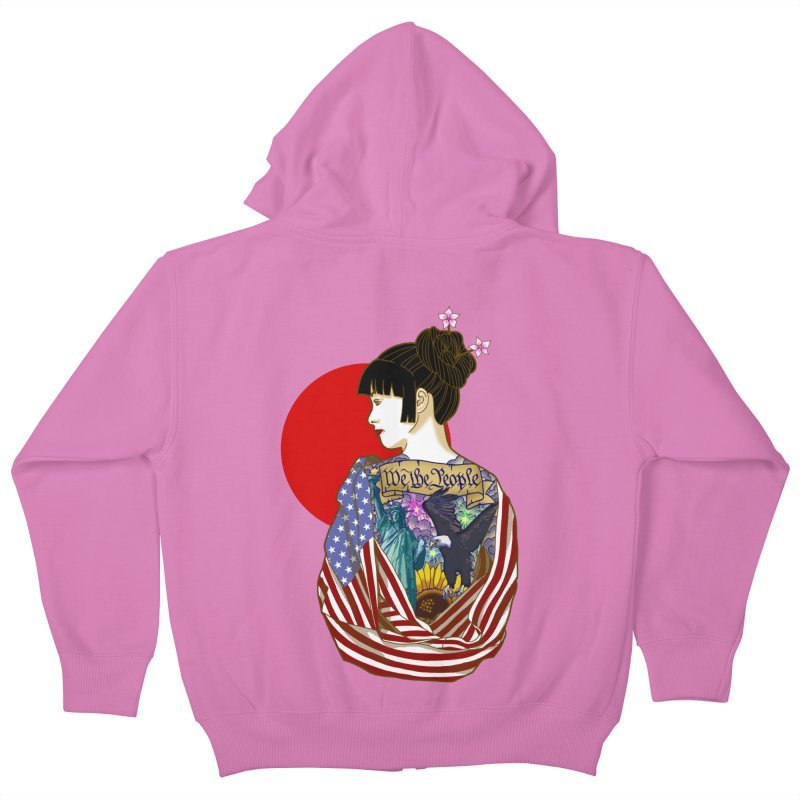 The Illustrated Woman Kids Zip-Up Hoody by ariesnamarie's Artist Shop