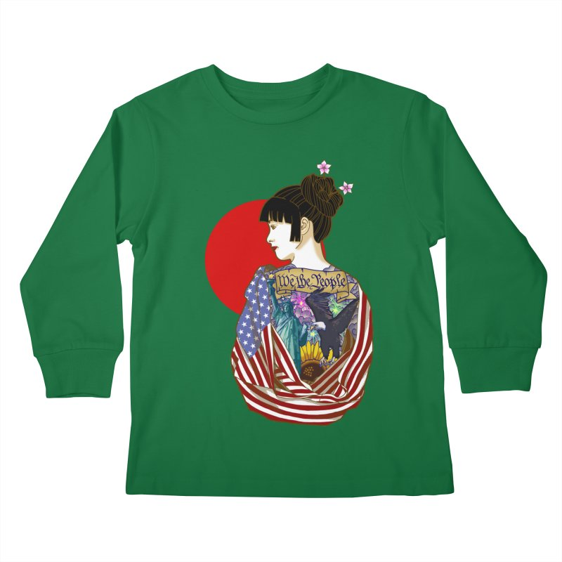The Illustrated Woman Kids Longsleeve T-Shirt by ariesnamarie's Artist Shop