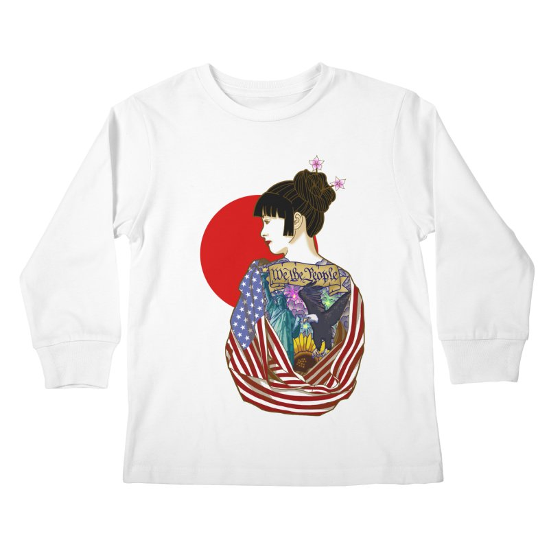 The Illustrated Woman Kids Longsleeve T-Shirt by ariesnamarie's Artist Shop