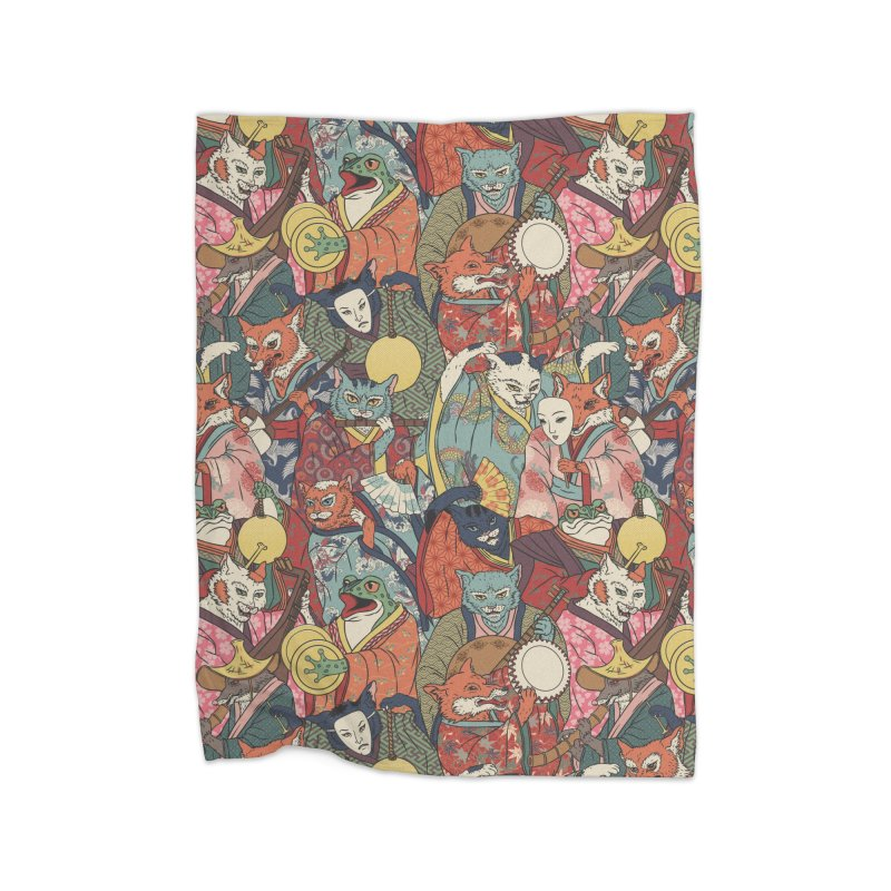 Night parade Home Fleece Blanket Blanket by arisuber's Artist Shop