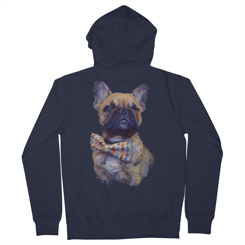 French Bulldog Men's French Terry Zip-Up Hoody by arisuber's Artist Shop