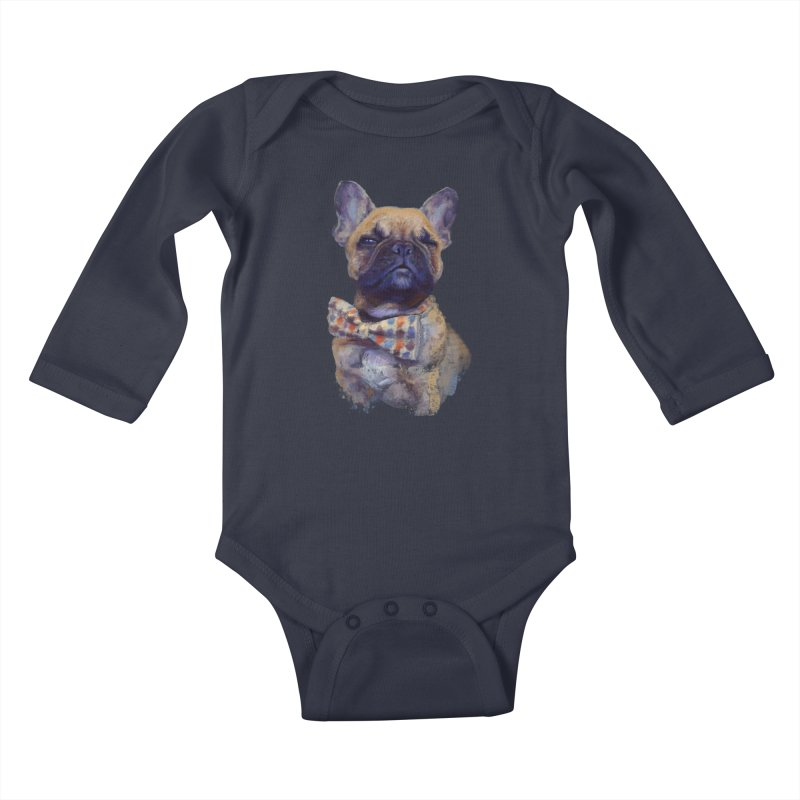 French Bulldog Kids Baby Longsleeve Bodysuit by arisuber's Artist Shop