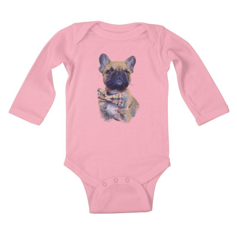 French Bulldog Kids Baby Longsleeve Bodysuit by arisuber's Artist Shop