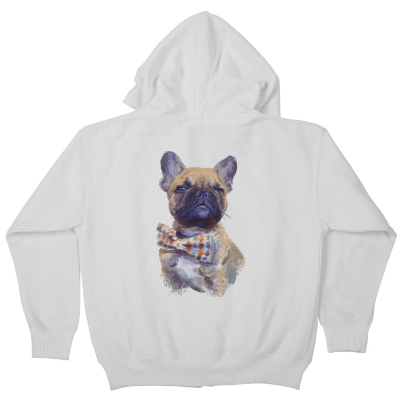 French Bulldog Kids Zip-Up Hoody by arisuber's Artist Shop