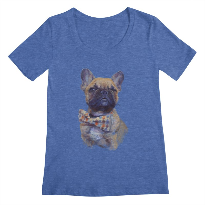 French Bulldog Women's Scoopneck by arisuber's Artist Shop
