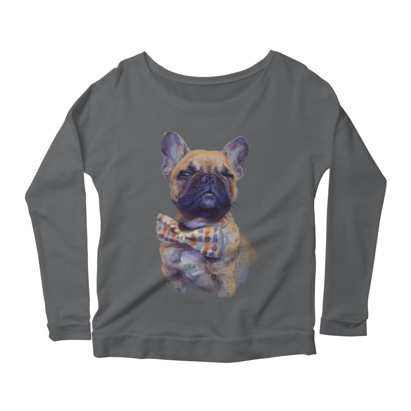 French Bulldog Women's Longsleeve Scoopneck  by arisuber's Artist Shop