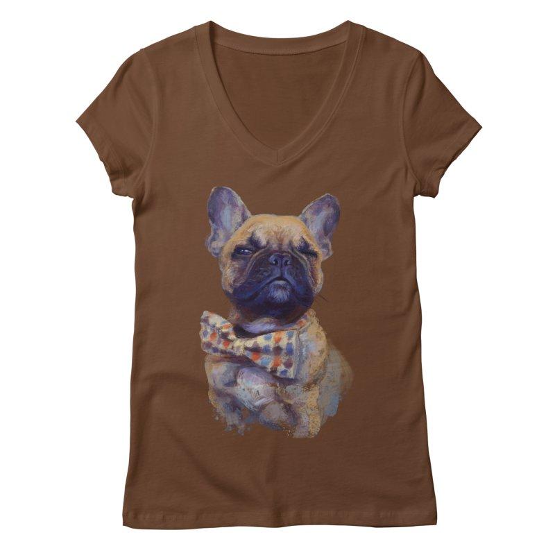 French Bulldog Women's V-Neck by arisuber's Artist Shop