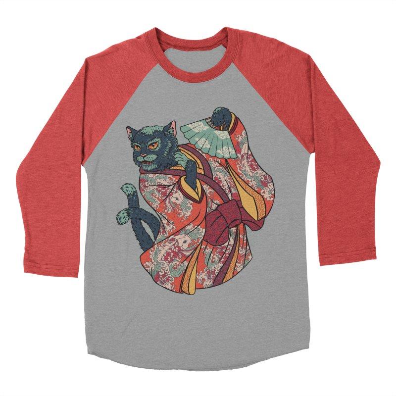 Bakeneko Women's Baseball Triblend T-Shirt by arisuber's Artist Shop