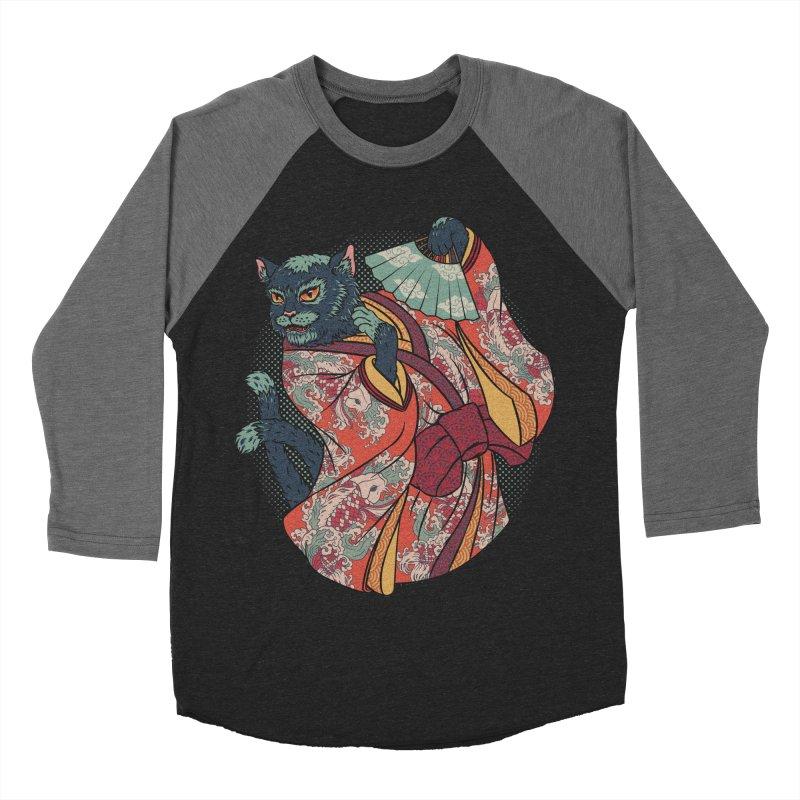 Bakeneko Women's Baseball Triblend Longsleeve T-Shirt by arisuber's Artist Shop