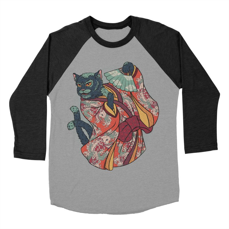 Bakeneko Men's Baseball Triblend T-Shirt by arisuber's Artist Shop
