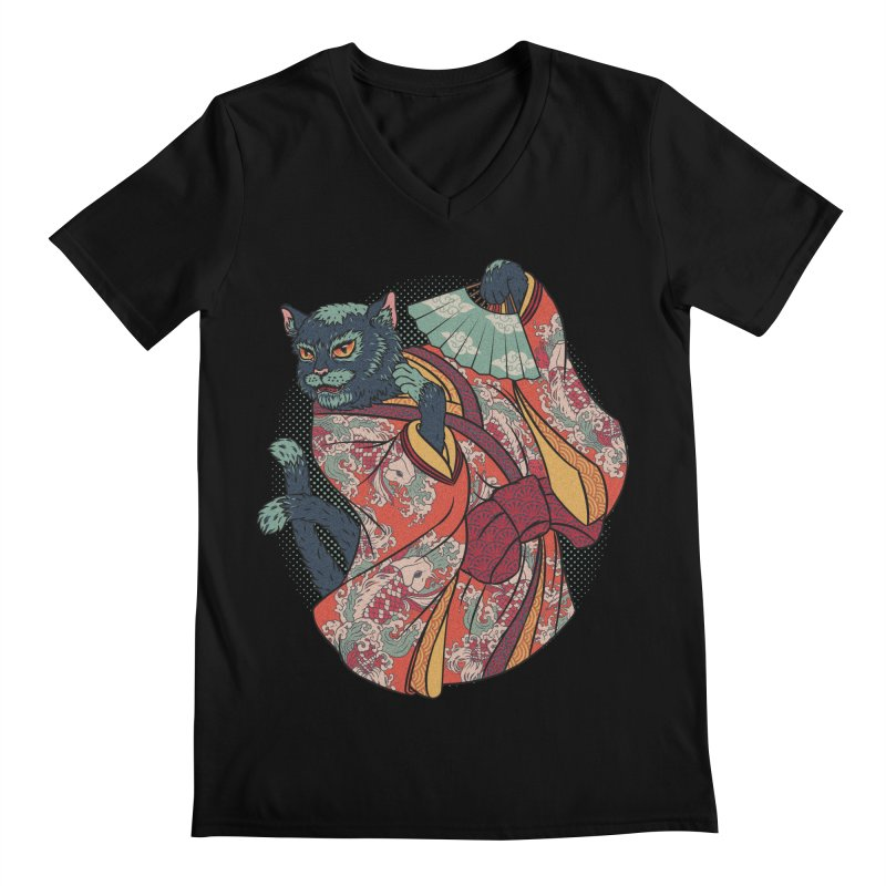 Bakeneko Men's V-Neck by arisuber's Artist Shop