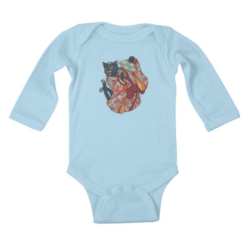Bakeneko Kids Baby Longsleeve Bodysuit by arisuber's Artist Shop