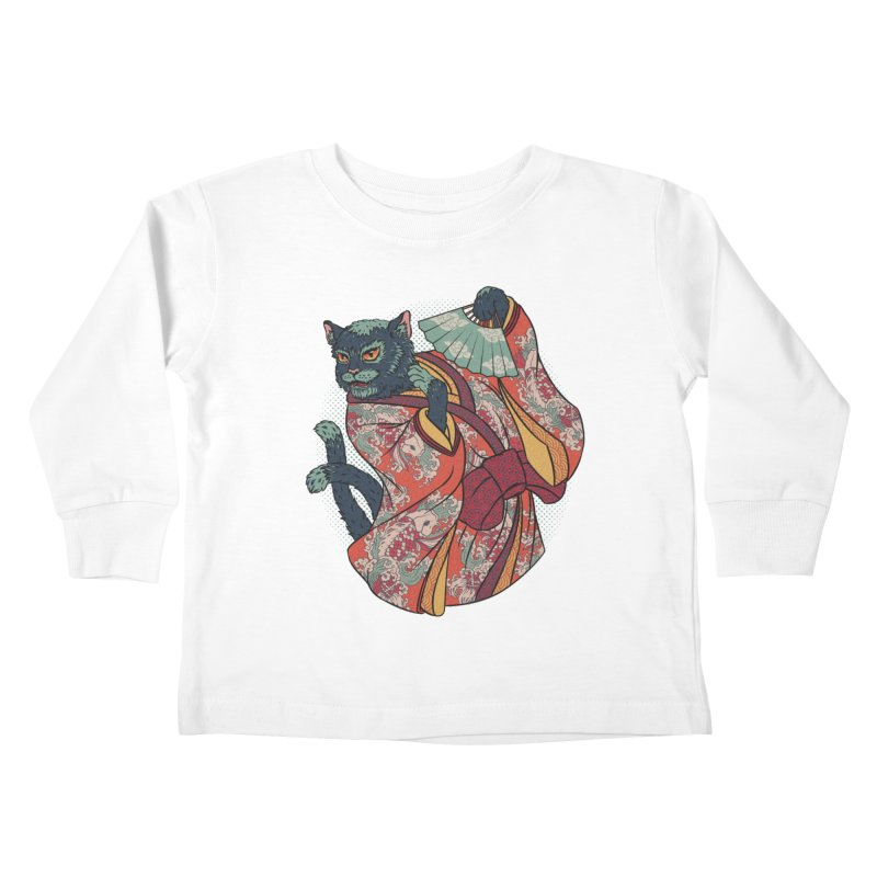 Bakeneko Kids Toddler Longsleeve T-Shirt by arisuber's Artist Shop