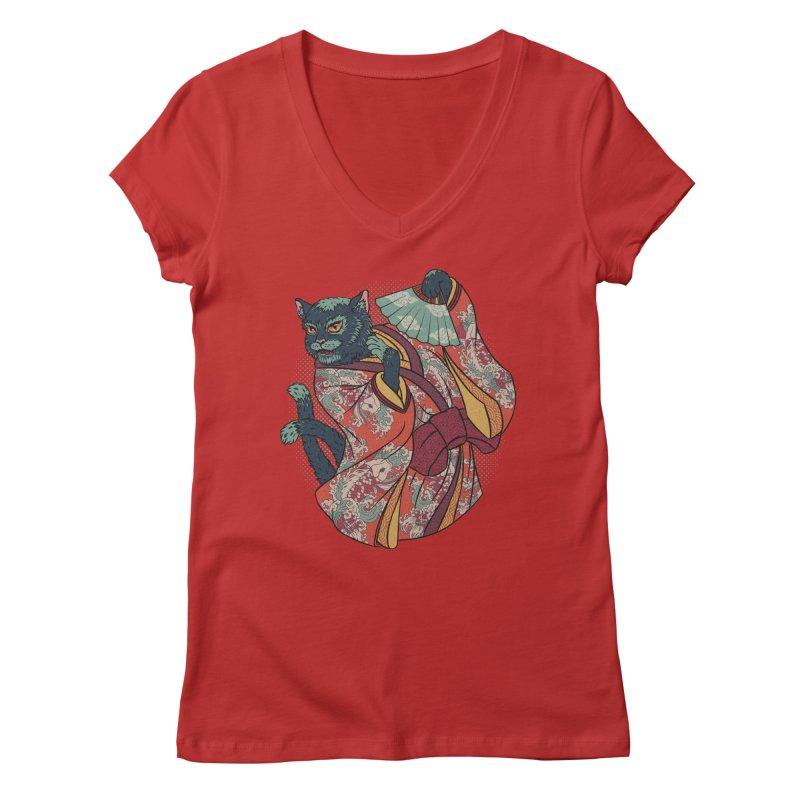 Bakeneko Women's V-Neck by arisuber's Artist Shop