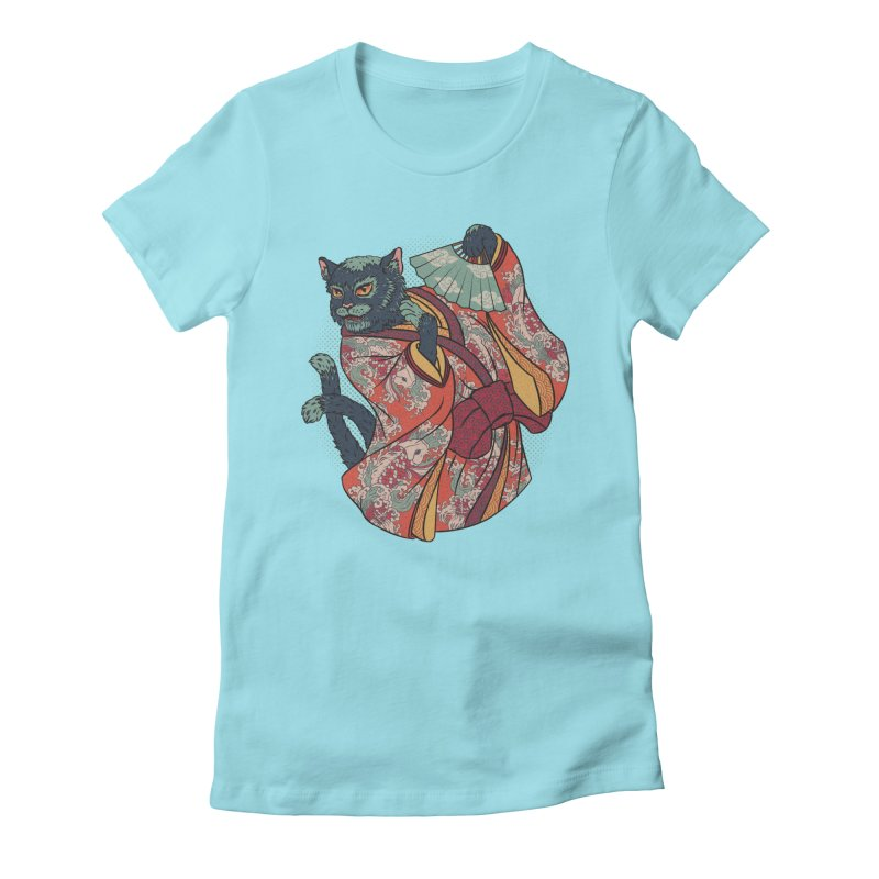 Bakeneko Women's Fitted T-Shirt by arisuber's Artist Shop