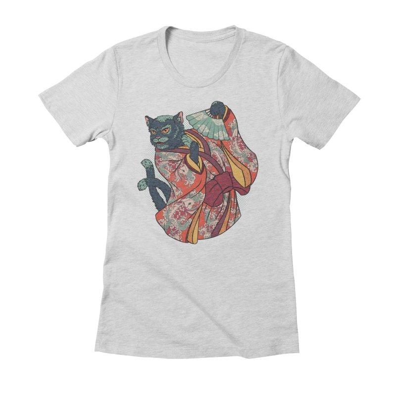 Bakeneko Women's Fitted T-Shirt by arisuber's Artist Shop