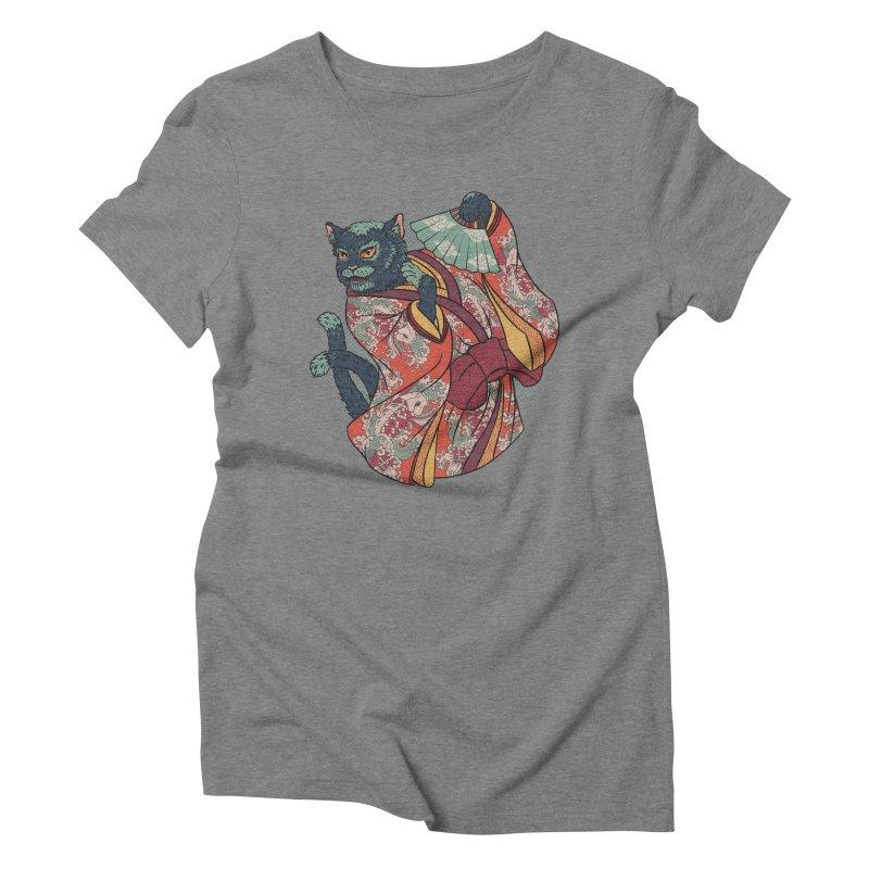 Bakeneko Women's Triblend T-shirt by arisuber's Artist Shop