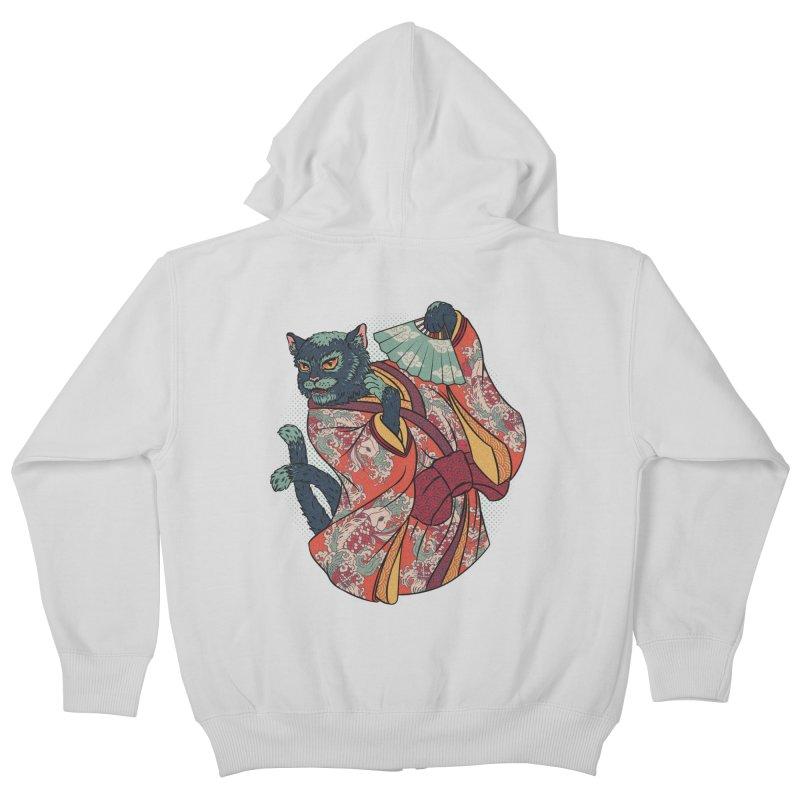 Bakeneko Kids Zip-Up Hoody by arisuber's Artist Shop