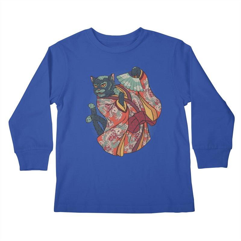 Bakeneko Kids Longsleeve T-Shirt by arisuber's Artist Shop