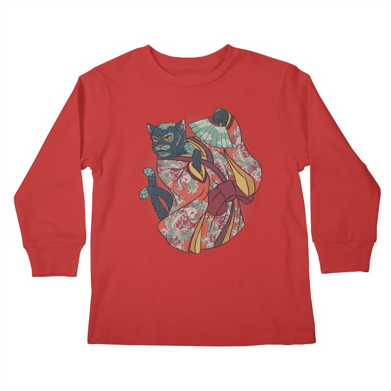 Bakeneko Kids Longsleeve T-Shirt by arisuber's Artist Shop
