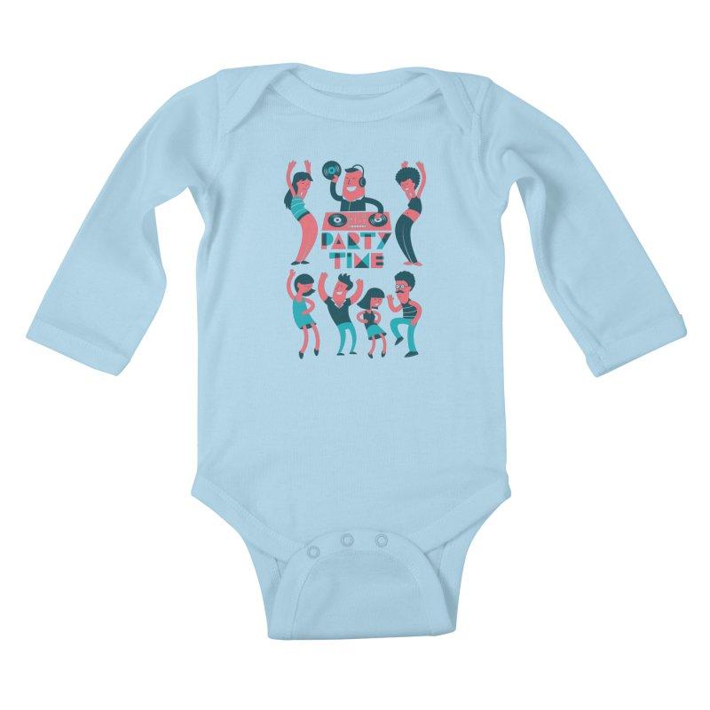 PARTY TIME!!! Kids Baby Longsleeve Bodysuit by Arkady's print shop