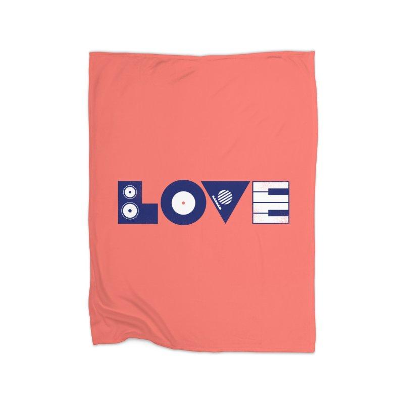Love Music Home Fleece Blanket Blanket by Arkady's print shop