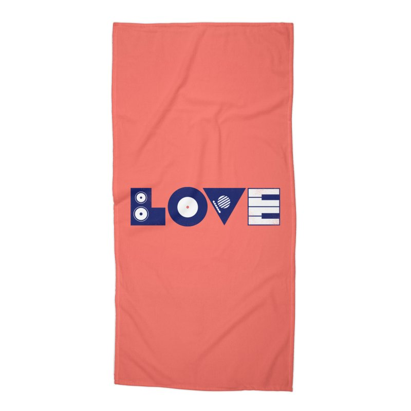Love Music Accessories Beach Towel by Arkady's print shop
