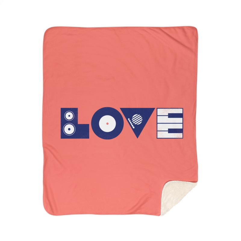 Love Music Home Sherpa Blanket Blanket by Arkady's print shop