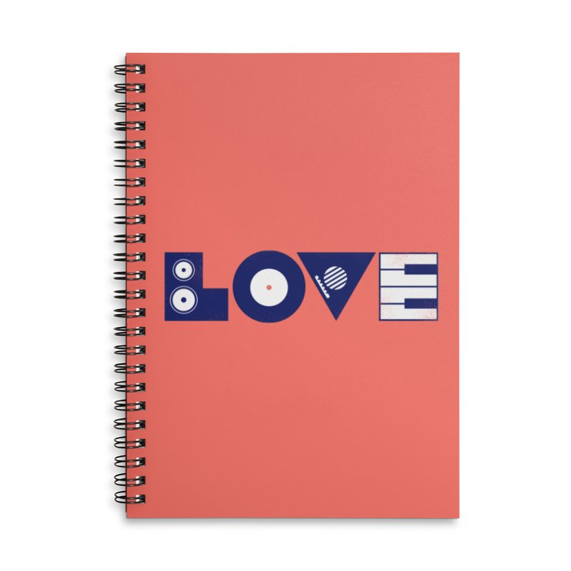 Love Music Accessories Lined Spiral Notebook by Arkady's print shop