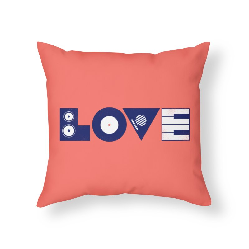 Love Music Home Throw Pillow by Arkady's print shop