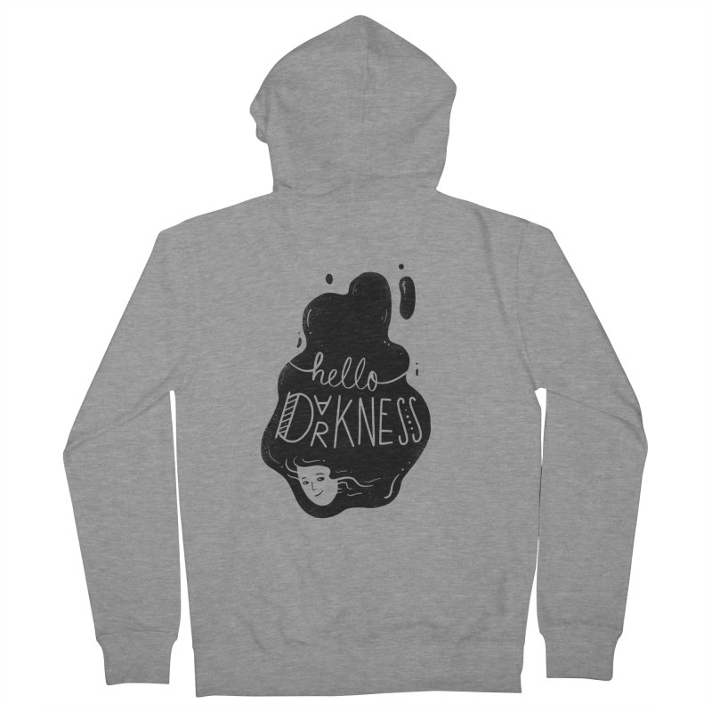 Hello darkness Men's French Terry Zip-Up Hoody by Arkady's print shop