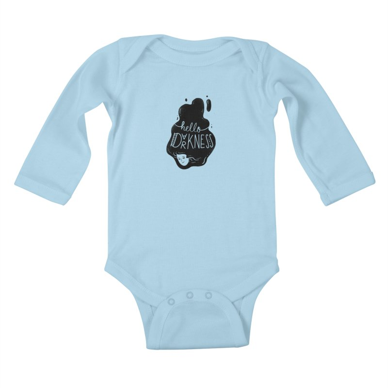 Hello darkness Kids Baby Longsleeve Bodysuit by Arkady's print shop