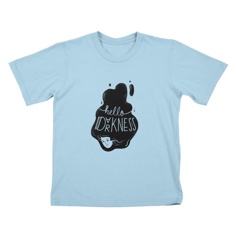 Hello darkness Kids T-Shirt by Arkady's print shop