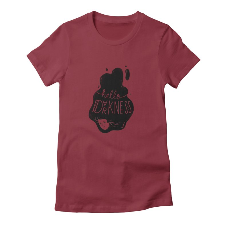 Hello darkness Women's Fitted T-Shirt by Arkady's print shop